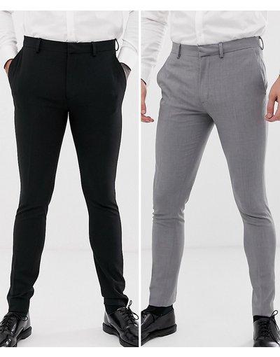 Multicolore uomo Confezione da 2 pantaloni eleganti super skinny nero e grigio - ASOS DESIGN - Multicolore - RISPARMIA