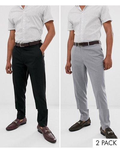 Multicolore uomo Confezione da 2 pantaloni skinny nero e grigio - ASOS DESIGN - Multicolore - RISPARMIA