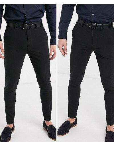 Nero uomo Confezione da 2 pantaloni super skinny neri - ASOS DESIGN - RISPARMIA - Nero
