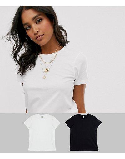T-shirt Multicolore donna shirt girocollo in cotone organico - Confezione da 2 T - ASOS DESIGN - Multicolore - RISPARMIA