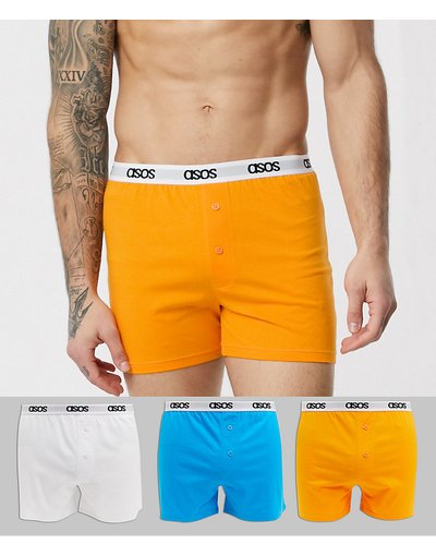 Intimo Multicolore uomo Confezione da 3 boxer in jersey blu, arancione e bianco con elastico in vita con logo - ASOS DESIGN - Multicolore - Risparmia