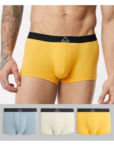 Calze Multicolore uomo Confezione da 3 paia di boxer a vita bassa con elastico in vita con scrittaUnrivalled Supply- ASOS DESIGN - Multicolore - Risparmia
