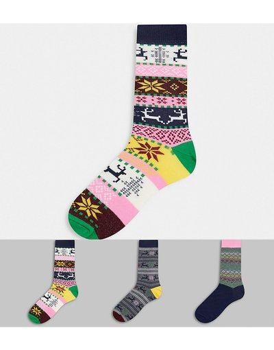 Intimo Multicolore uomo Confezione da 3 paia di calzini con stampa Fair Isle multicolore - ASOS DESIGN