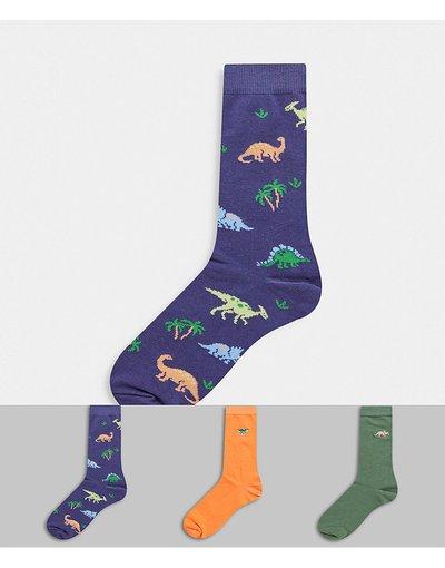 Intimo Multicolore uomo Confezione da 3 paia di calzini corti con dinosauri - ASOS DESIGN - Multicolore