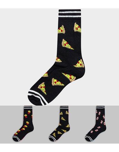 Intimo Nero uomo Confezione da 3 paia di calzini sportivi con designFast food - ASOS DESIGN - Nero