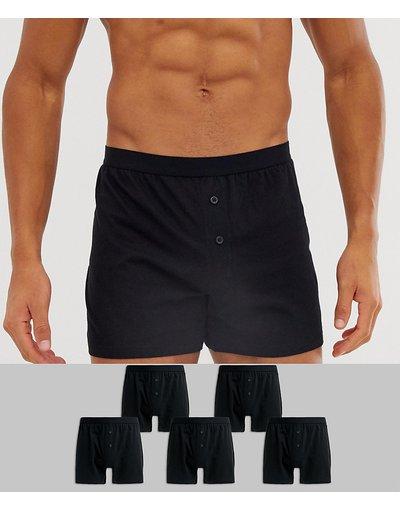Calze Nero uomo Confezione da 5 cinque paia di boxer in jersey neri - ASOS DESIGN - Nero