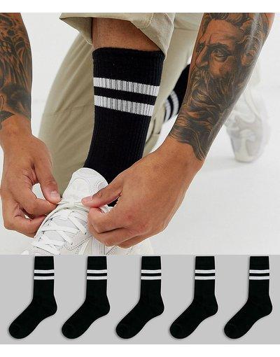 Intimo Nero uomo Confezione da 5 calzini sportivi neri con righe bianche - ASOS DESIGN - Risparmia - Nero