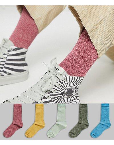 Calze Multicolore uomo Confezione da 5 paia di calzettoni con dettaglio mélange - ASOS DESIGN - Multicolore