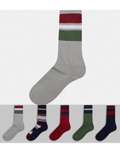 Intimo Multicolore uomo Confezione da 5 paia di calzini sportivi a righe colorate stile college - ASOS DESIGN - Multicolore