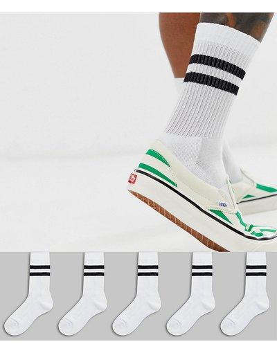 Intimo Bianco uomo Confezione da 5 paia di calzini sportivi bianchi con righe nere - ASOS DESIGN - Risparmia - Bianco