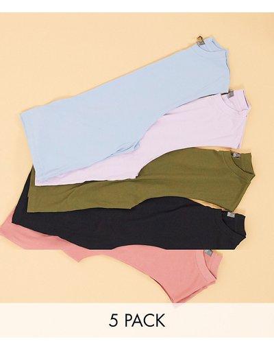 T-shirt Multicolore uomo shirt comode senza maniche con giromanica ampio - Confezione da 5 T - ASOS DESIGN - Multicolore