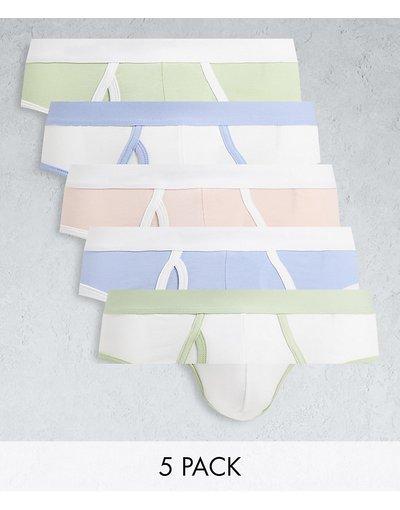 Intimo Multicolore uomo Confezione da cinque paia di slip con elastico in vita a contrasto dai colori pastello - ASOS DESIGN - Multicolore