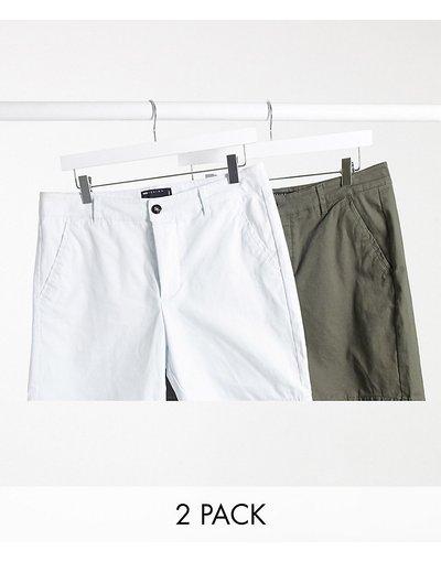Multicolore uomo Confezione di 2 chino corti verdi e bianchi - ASOS DESIGN - Multicolore