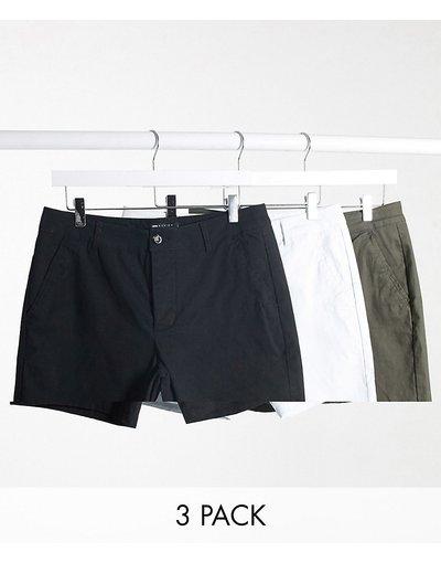 Multicolore uomo Confezione di 3 chino corti skinny kaki, neri e bianchi - ASOS DESIGN - Multicolore