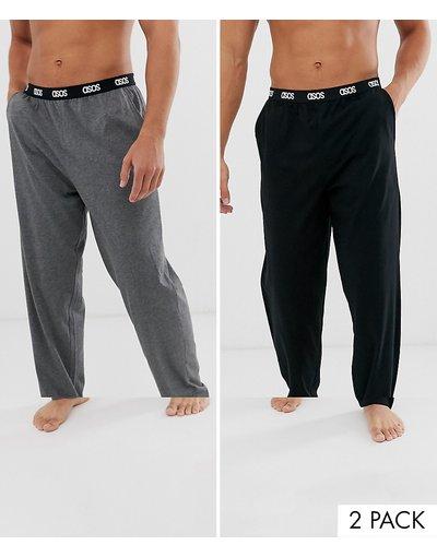 Pigiami Multicolore uomo Confezione risparmio da 2 pantaloni pigiama nero e antracite mélange con elastico con logo in vita - ASOS DESIGN - Multicolore