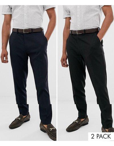 Multicolore uomo Confezione risparmio da 2 pantaloni skinny eleganti nero e blu navy - ASOS DESIGN - Multicolore