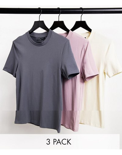 T-shirt Multicolore uomo shirt attillate in tessuto organico - Confezione risparmio da 3 T - ASOS DESIGN - Multicolore
