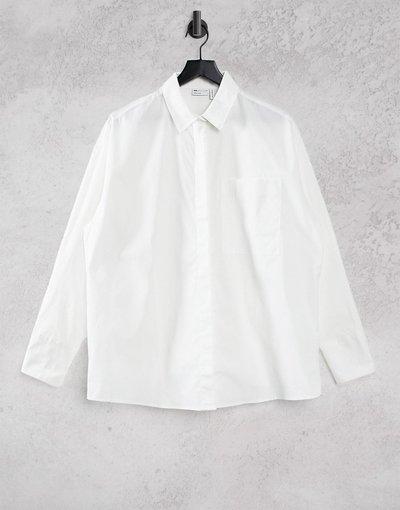 Camicia Bianco donna Camicia boyfriend a maniche lunghe in cotone bianco - ASOS DESIGN Coppe Grandi