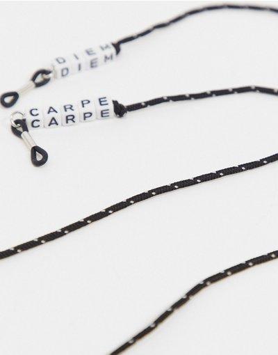 Occhiali Nero uomo Cordino per occhiali sottile con perline con scritta nero - ASOS DESIGN