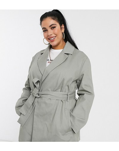 Verde donna Camicia giacca con cintura di tela grigia - ASOS DESIGN Curve - Verde