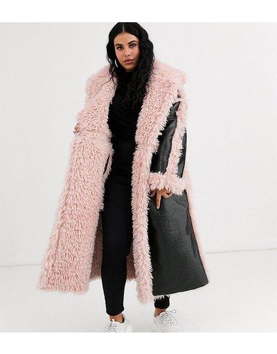 Nero donna Cappotto lungo a pannelli in vinile nero e rosa - ASOS DESIGN Curve