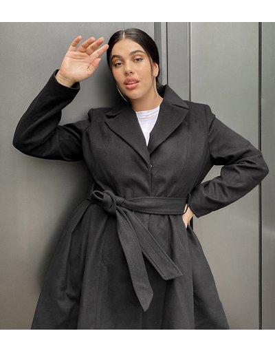 Nero donna Cappotto skater elegante con cintura nero - ASOS DESIGN Curve