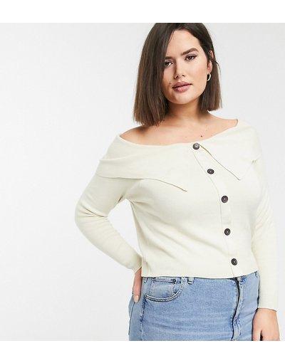 Crema donna Cardigan con spalle scoperte - ASOS DESIGN Curve - Crema