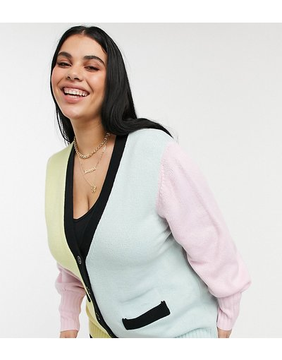 Multicolore donna Cardigan lungo color block - ASOS DESIGN Curve - Multicolore