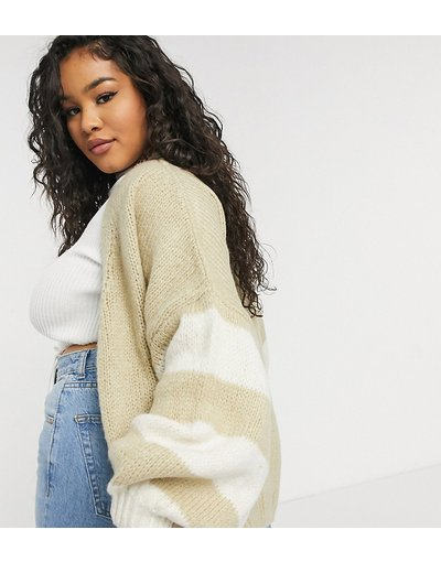 Bianco donna Cardigan oversize bianco a righe - ASOS DESIGN Curve