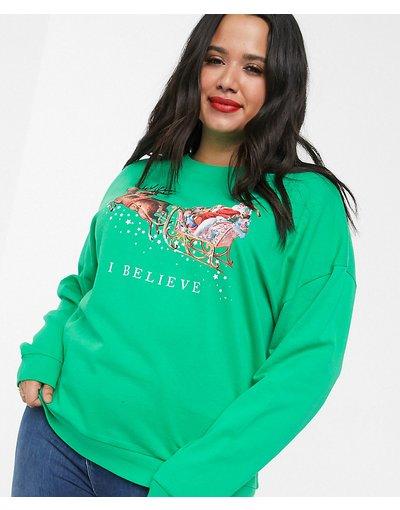 Verde donna Felpa natalizia con motivoI believe- ASOS DESIGN Curve - Verde