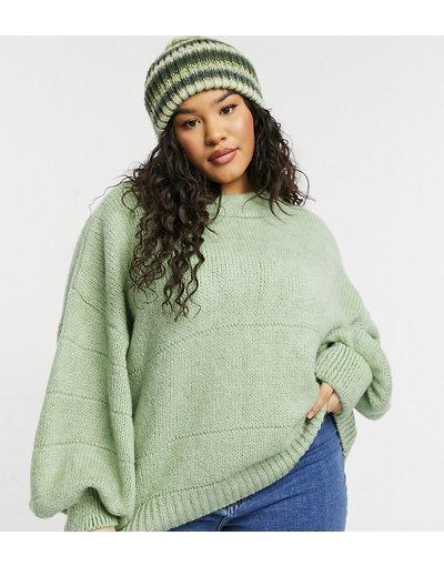 Verde donna Maglione oversize con cuciture decorative a righe, colore verde - ASOS DESIGN Curve