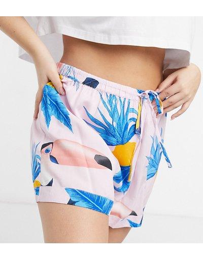 Pigiami Multicolore donna Pantaloncini del pigiama con stampa con tucani in 100% modal, colore rosa - ASOS DESIGN Curve - Mix&Match - Multicolore