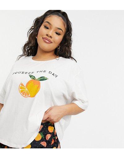 Pigiami Bianco donna shirt del pigiama in jersey con stampa di arance - ASOS DESIGN Curve - Mix&Match - Bianco - T