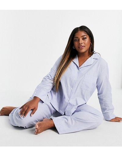 Pigiami Blu donna Pantaloni del pigiama mix&match in cotone a righe blu e bianco - ASOS DESIGN Curve