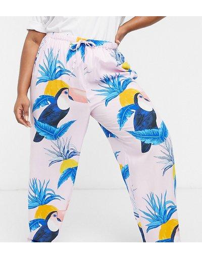 Pigiami Multicolore donna Pantaloni del pigiama Mix&Match rosa con stampa di tucani in 100% modal - ASOS DESIGN Curve - Multicolore