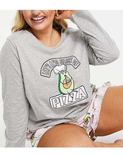 Pigiami Multicolore donna Pigiama grigio e rosa con pantaloncini e maglietta a maniche lunghe con scrittaLet's avo slicee avocado - ASOS DESIGN Curve - Multicolore