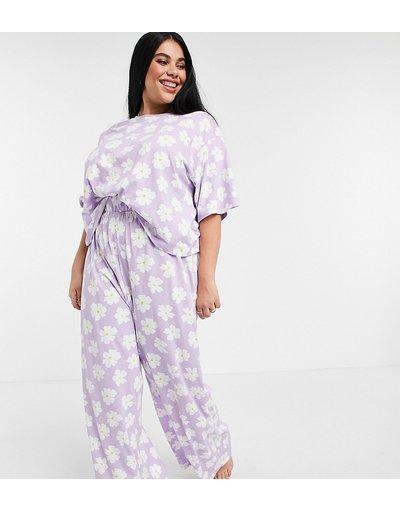 Pigiami Viola donna shirt e pantaloni a fondo ampio - Pigiama lilla a fiori con T - ASOS DESIGN Curve - Viola