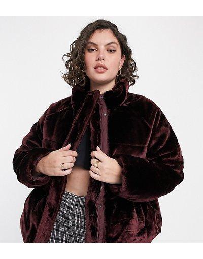 Rosso donna Piumino in morbida pelliccia sintetica bordeaux - ASOS DESIGN Curve - Rosso