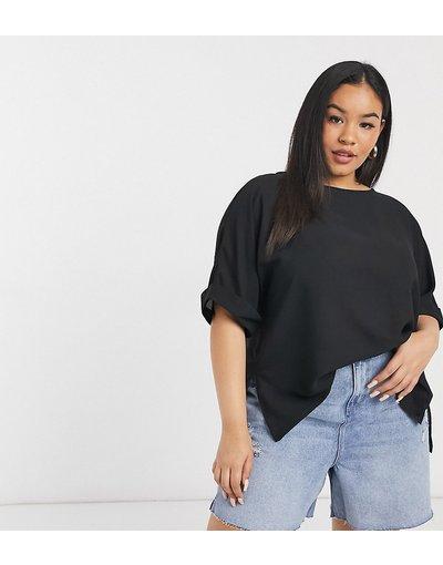 T-shirt Nero donna shirt oversize nera con maniche arrotolate - ASOS DESIGN Curve - Nero - T