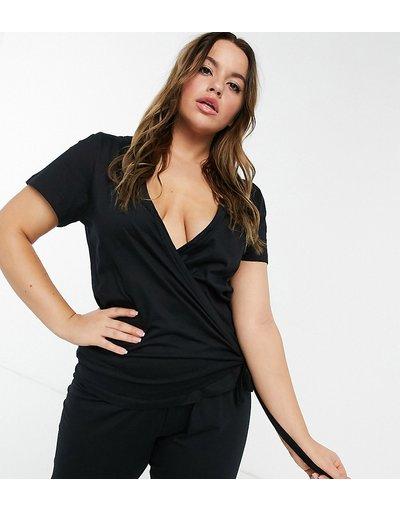 Pigiami Nero donna Top del pigiama a portafoglio mix&match in jersey nero - ASOS DESIGN Curve