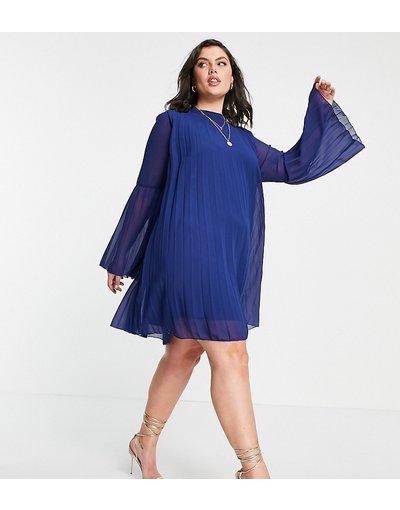 Eleganti pantaloni Navy donna Vestito corto a trapezio a pieghe con maniche svasate blu navy - ASOS DESIGN Curve