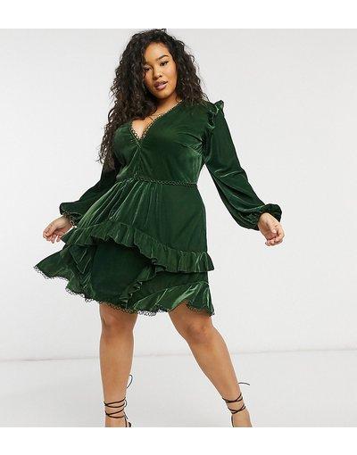 Verde donna Vestito corto in velluto con decori circolari - ASOS DESIGN Curve - Verde
