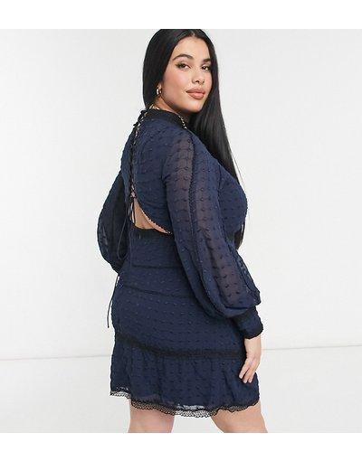 Blu navy donna Vestito in stile vittoriano blu navy con allacciatura - ASOS DESIGN Curve