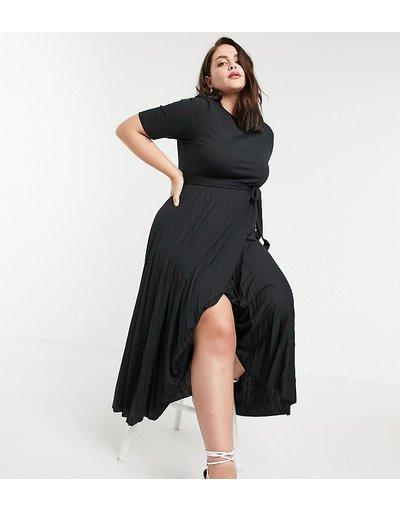 Eleganti longuette Nero donna Vestito longuette a pieghe con cintura nero - ASOS DESIGN Curve