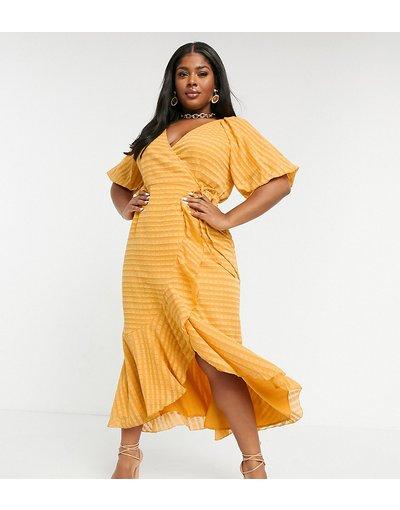 Giallo donna Vestito lungo a portafoglio a righe color mostarda - ASOS DESIGN Curve - Giallo