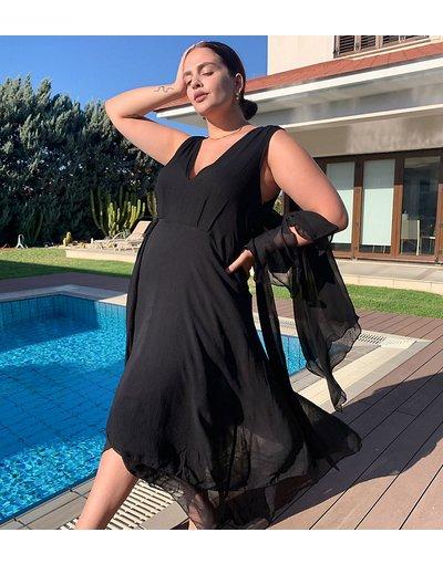 Eleganti lunghi Nero donna Vestito lungo a strati morbido allacciato in vita - ASOS DESIGN Curve - Nero