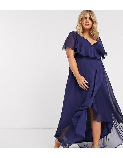 Blu donna Vestito lungo con dettaglio a mantella sul retro e taglio asimmetrico - ASOS DESIGN Curve - Blu