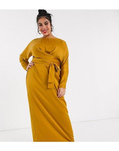 Giallo donna Vestito lungo in raso a portafoglio con maniche a pipistrello - ASOS DESIGN Curve - Giallo