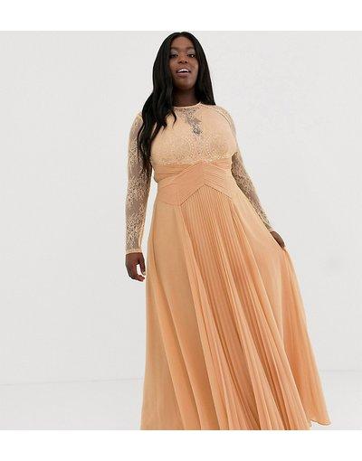 Arancione donna Vestito lungo plissettato a maniche lunghe con pannello in pizzo - ASOS DESIGN Curve - Arancione