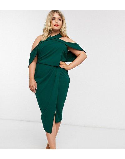 Verde donna Vestito midi a fascia allacciato al collo con drappeggio - ASOS DESIGN Curve - Verde